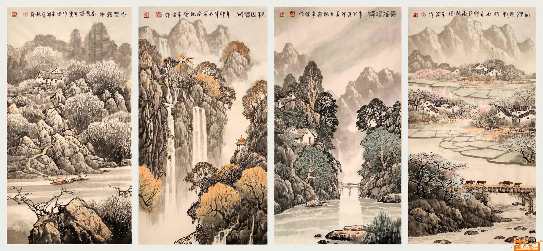 春夏秋冬四条屏-李辛儒-淘宝-名人字画-中国书画交